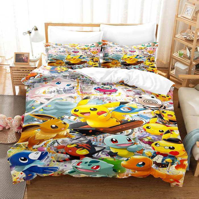 Pokemon Pikachu Cosplay Comforter Bedding Sets Duvet Covers Bed Sheets