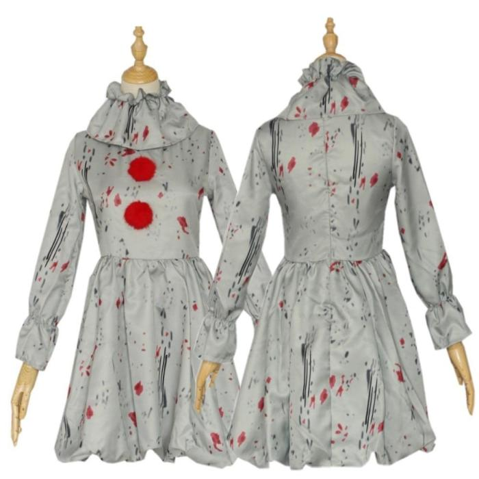 Pennywise Costume Joker Cosplay Dress Kids Clothes Horror Clown Collar Halloween Party For Boys And Girls