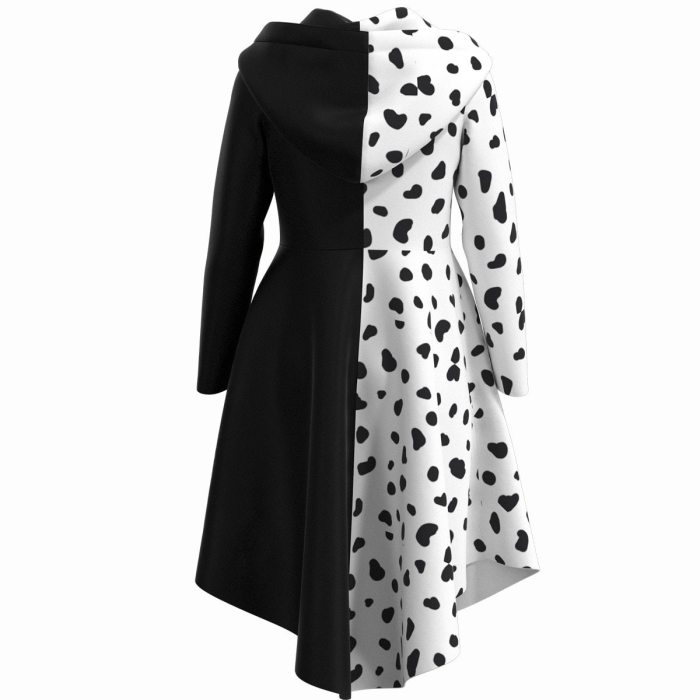 Halloween Carnival Cruella De Vil Cosplay Costume Party Dress Outfits For Kids Girls