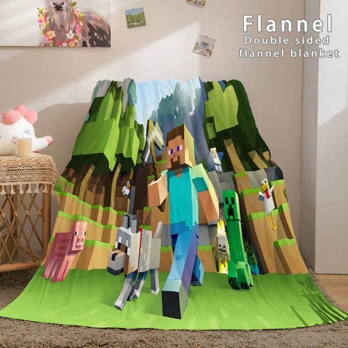 Minecraft Flannel Fleece Throw Cosplay Blanket Comforter Set