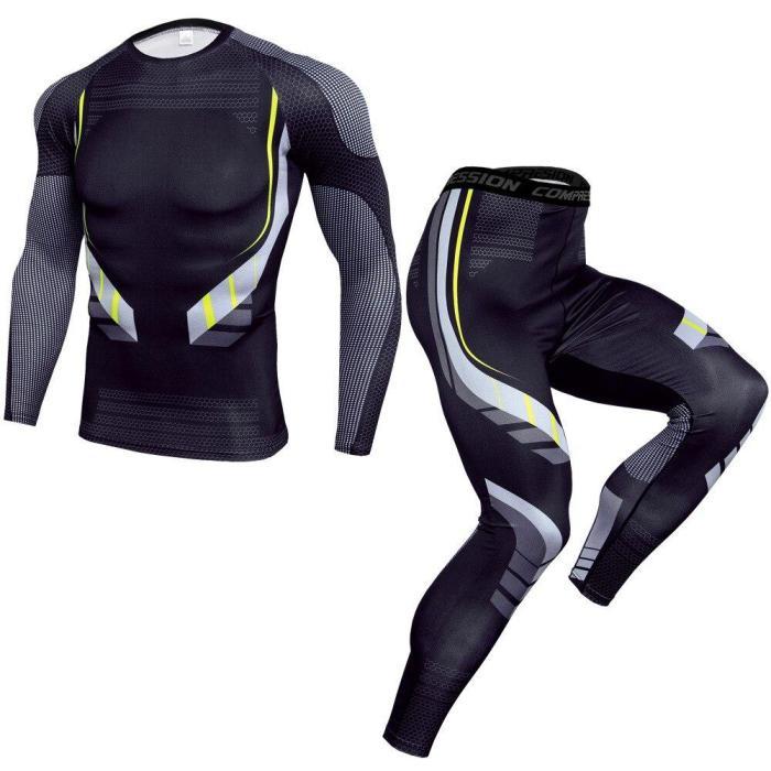 Fashion Compression T-Shirt Leggings Set Men Running Sport Quick Dry Sportswear Pants Male Gym Fitness Training Mma Tees