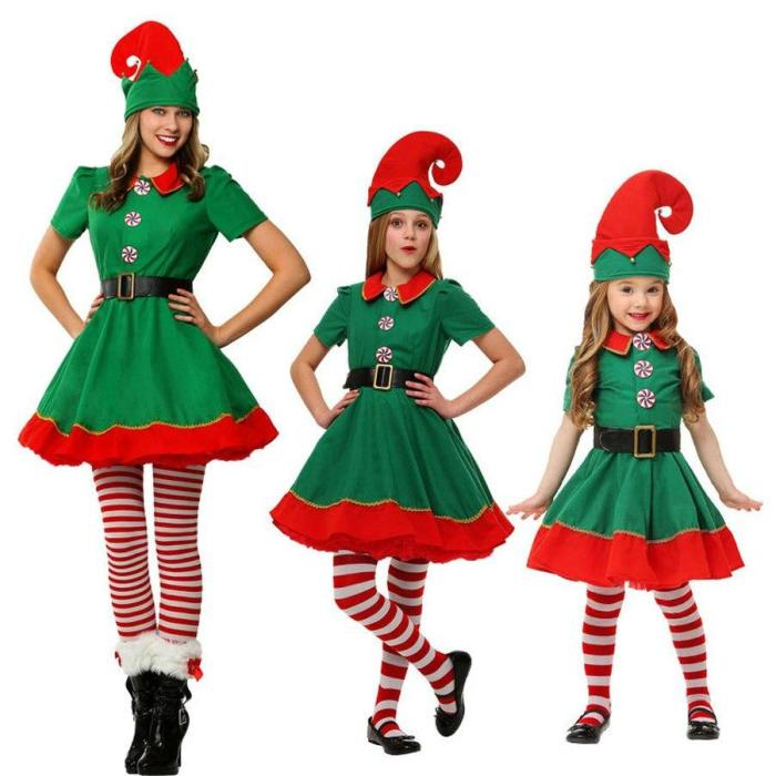 Elf Costume For Kids/Adult Christmas Santa Claus Costume Family Green Elf Cosplay Costumes Carnival Party Supplies Weihnachtself