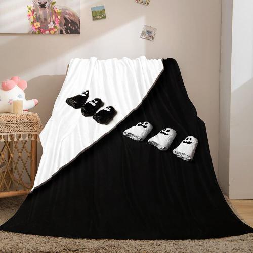 Black And White Flannel Fleece Throw Cosplay Blanket Comforter Sets
