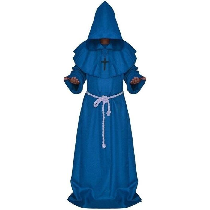 Plague Doctor Cosplay Costume Medieval Hooded Robe Steampunk Terror Mask Hat Adult Halloween Party Role Play Size S-Xl