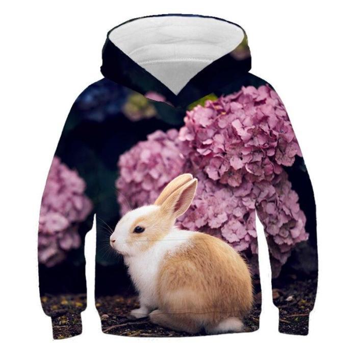 Autumn  Sale Fashion Boys Rabbit 3D Print Sport Hoodies T Shirt Outerwear Children Long Sleeve Casual Hooded Sweatshirt