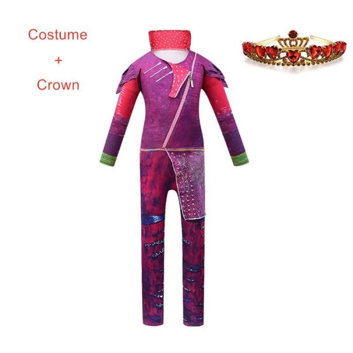 Pink  Costumes Girl Halloween Costumes For Girls Fantasia Party Costume Descendants 3 Mal Cosplay Clothes Set 5-14 Year