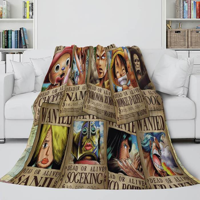 Anime One Piece Throw Flannel Fleece Blanket Soft Cozy Bedding Sets