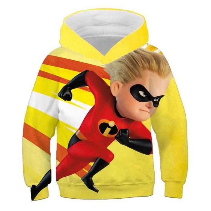 4-14 Years Cartoon Anime Super Family Hoodies Kids Sweatshirts Boys Hooded Sweater 3D Print Colorful Cosplay Tops Girls Outfits