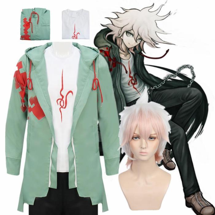 Anime Danganronpa 2 Nagito Komaeda Cosplay Jacket T-Shirt Sets Halloween Costumes For Women Men Adult Clothes