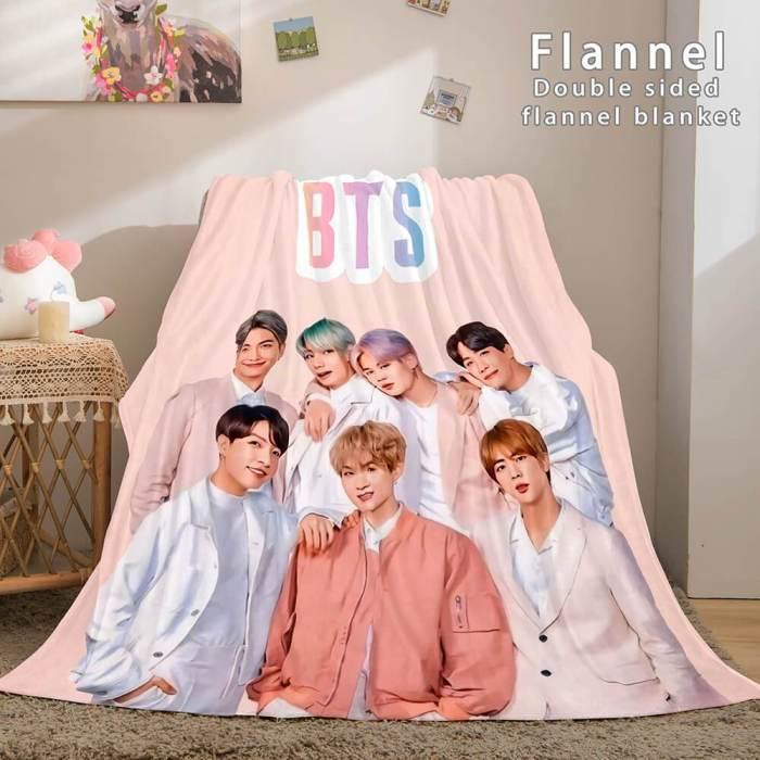 Kpop Bts Butter Bangtan Boys Cosplay Flannel Blanket Throw Bed Sets