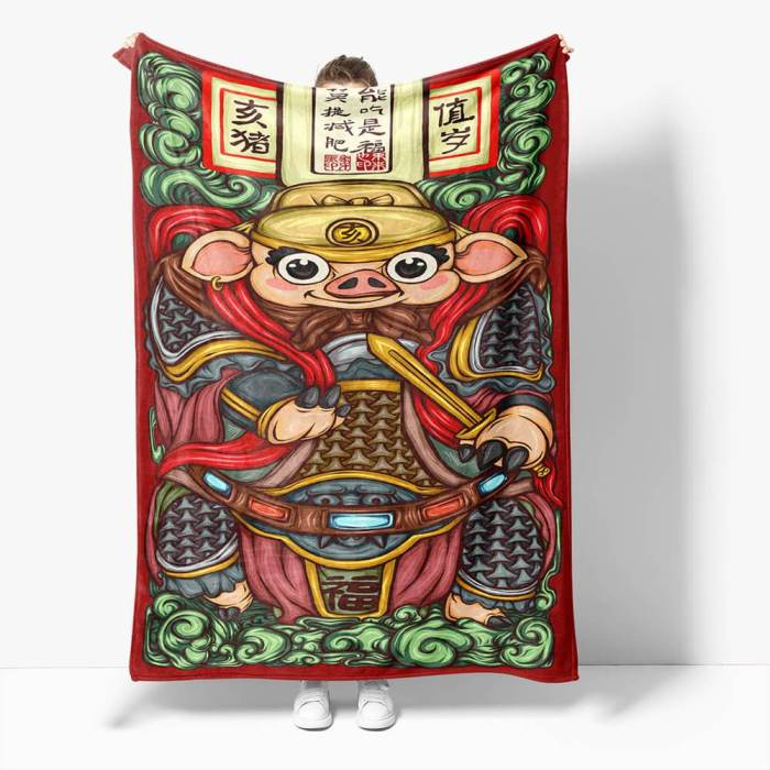 Chinese National Tide Elements Flannel Fleece Throw Blanket Comforter