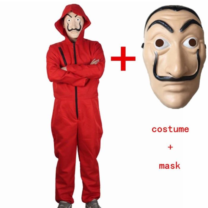 Salvador Dali Movie Costume Mask Money Heist The House Of Paper La Casa De Papel Cosplay Halloween Party Costumes Set