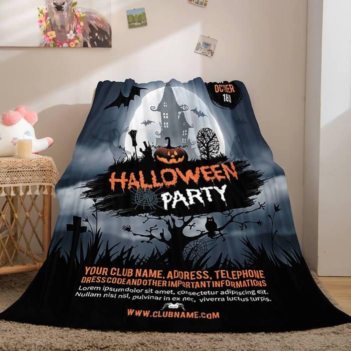 Halloween Castle Flannel Fleece Throw Cosplay Blanket Comforter Sets