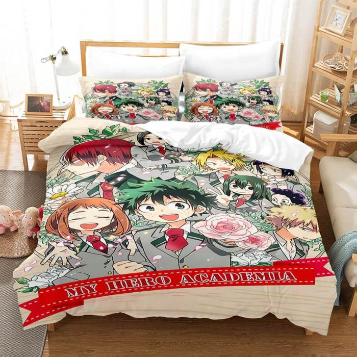 Anime My Hero Academia Cosplay Bedding Set Duvet Cover Comforter Bed Sheets