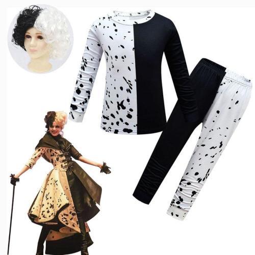 Cruella De Vil Children Halloween Costume Two Piece Set Black White Cosplay Clothes Wig For Girls