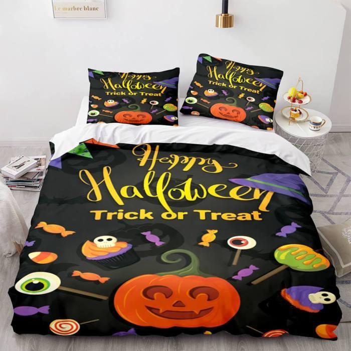 Halloween Decor Bedding Set Duvet Cover Comforter Bed Sheets
