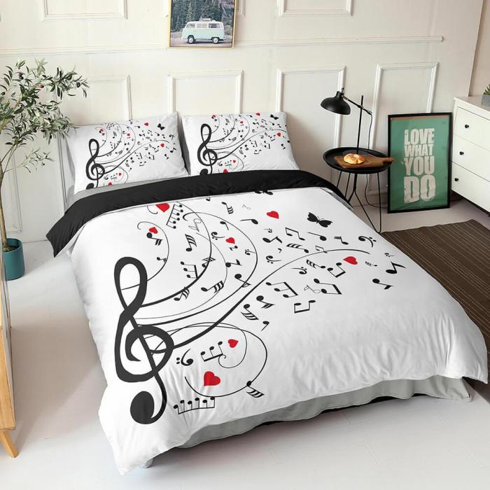 Music Note Comforter Bedding Sets Musical Theme Duvet Cover Bed Sheets