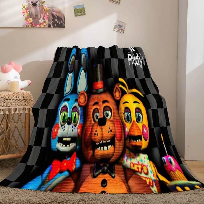 Five Nights At Freddy'S Flannel Caroset Throw Cosplay Blanket Comforter Set
