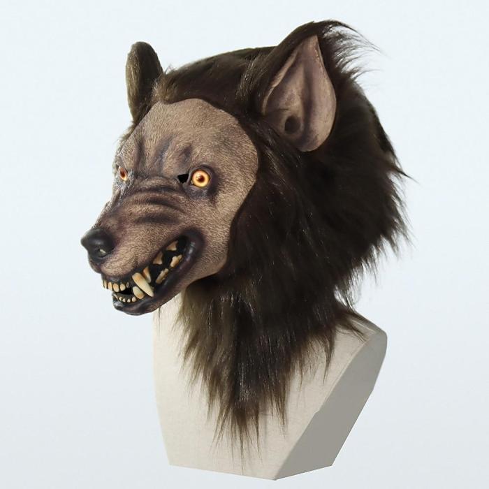 Werewolf Cosplay Headwear Costume Mask Halloween Simulation Animal Mask Party Wolf Head Hood Latex Masks