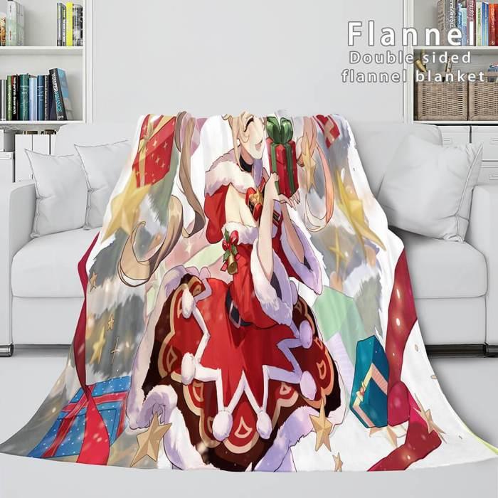 Genshin Impact Flannel Caroset Throw Cosplay Blanket Comforter Set