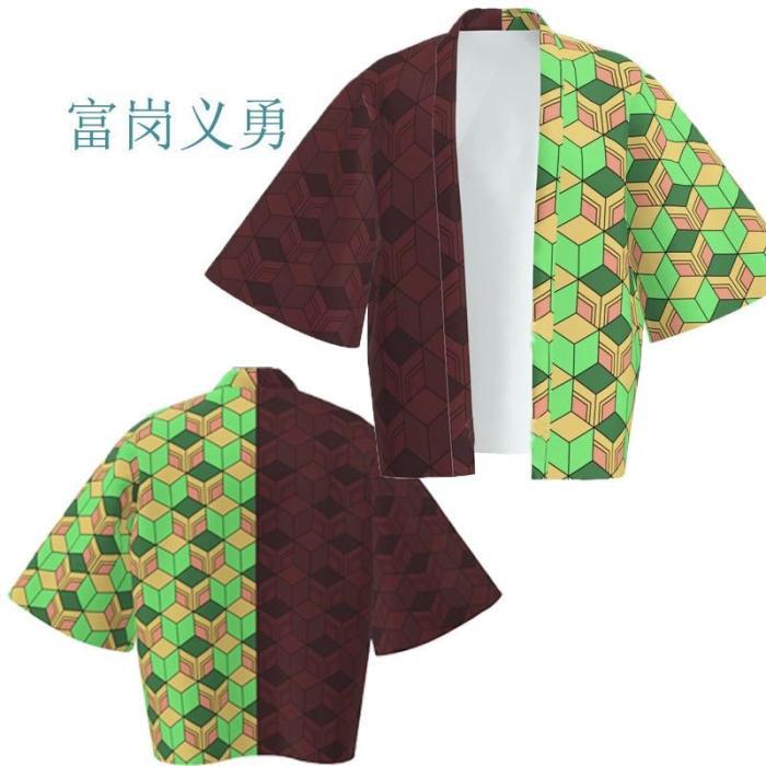 Anime Demon Slayer Kimetsu No Yaiba Tanjiro Kamado Cosplay Cape Costume Men Kimono Plus Size Jackets Halloween Party