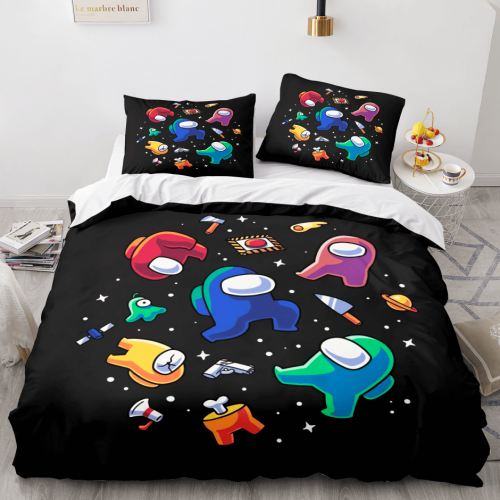 Among Us Cosplay 3 Piece Comforter Bedding Sets Duvet Cover Bed Sheets