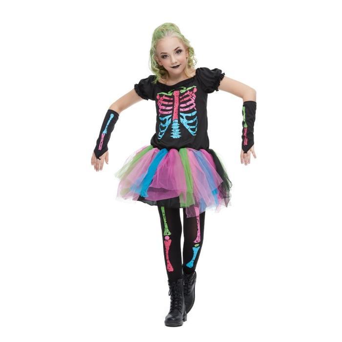 Reneecho   Arrival Rainbow Skeleton Girl Costume Toddler Funky Punky Bone Costume Halloween Costume For Kids