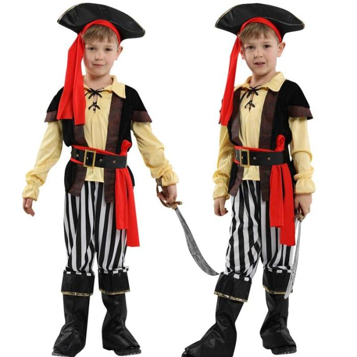 Halloween Kids Pirates Costume Children'S Day Hat Shoes Cover Headwear Costumes Cosplay For Boys Girls No Weapon