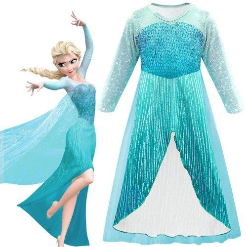 Elsa Dress Girl Princess Dress Cosplay Costume Snow Queen Dresses Baby Kids Clothes