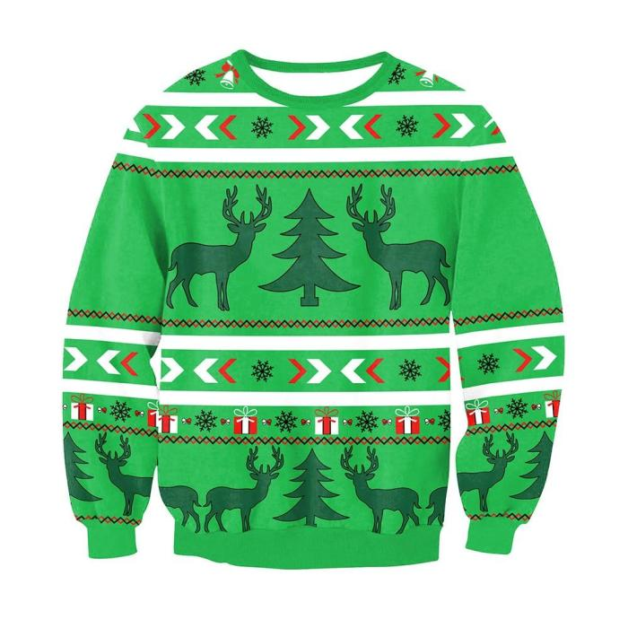 Fashion Ugly Christmas Sweater 3D Printing Casual Long Sleeve O-Neck Couple Pullover