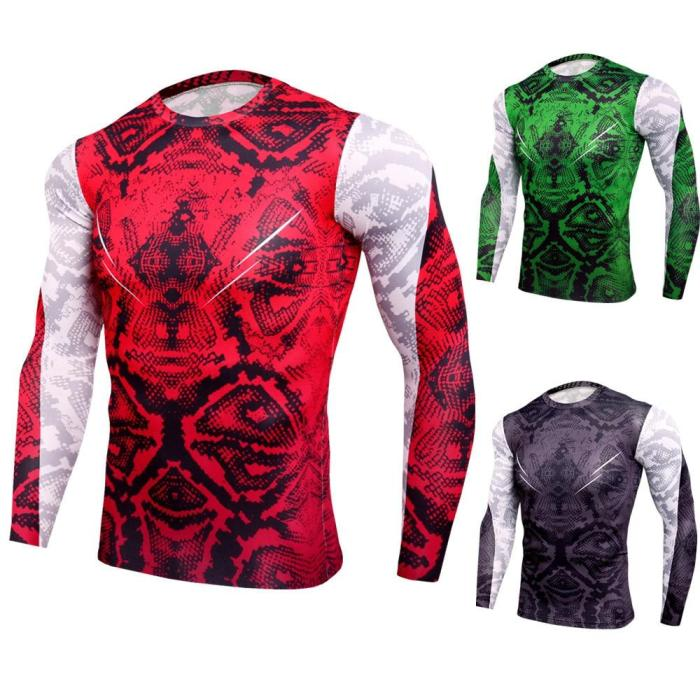Men Fitness Long Sleeve Compression Shirt 3D Camouflage T Shirt Tights Fitness Men Tops & Tees
