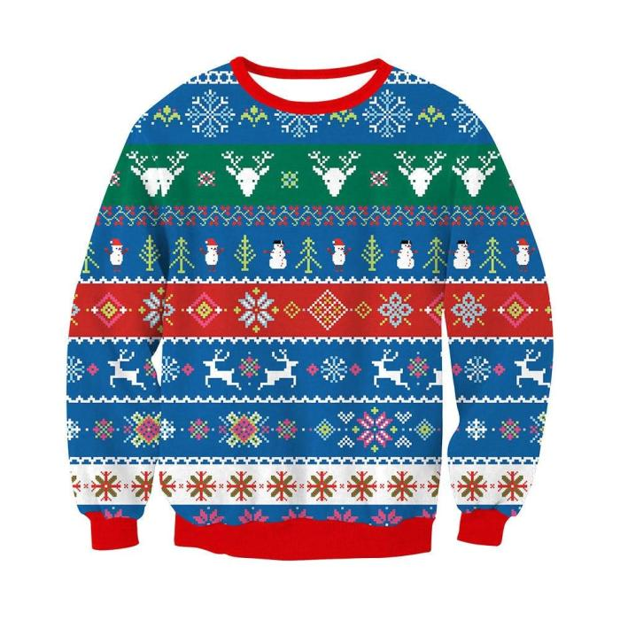 Fashion Unisex Ugly Christmas Sweater Men Women Printing Long Sleeve Round Neck Pullover Tops