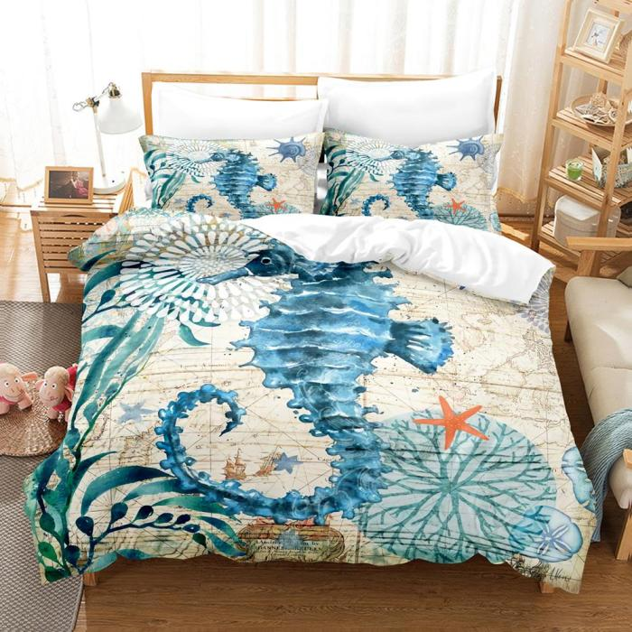 Marine Animal Bedding Set Duvet Cover Comforter Bed Sheets