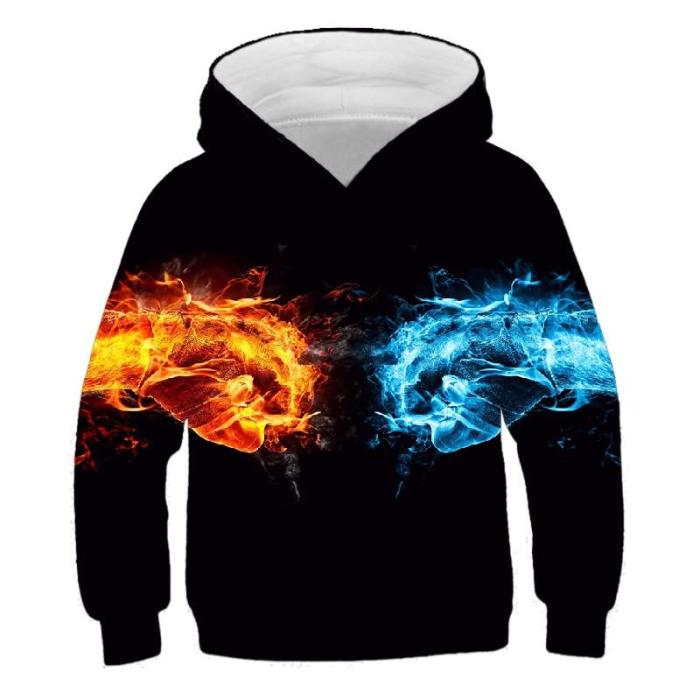 Children Colorful Blaze 3D Print Hoodies Kids Clothes Girls Sweatshirts Long Sleeve Pullovers Boys Autumn Thin Outfits Sweater