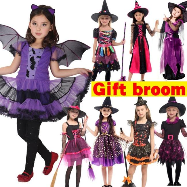 Halloween Witch Costume Attached Broom For Girls Party Role Play Cosplay Performance Dance Show Vampire Hat Dress Up