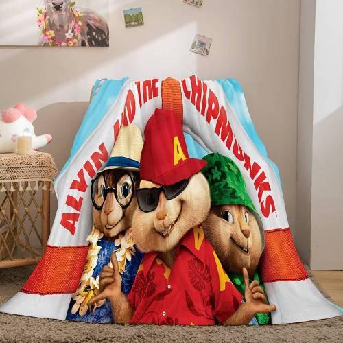 Alvin And The Chipmunks Cosplay Flannel Fleece Throw Blanket Comforter