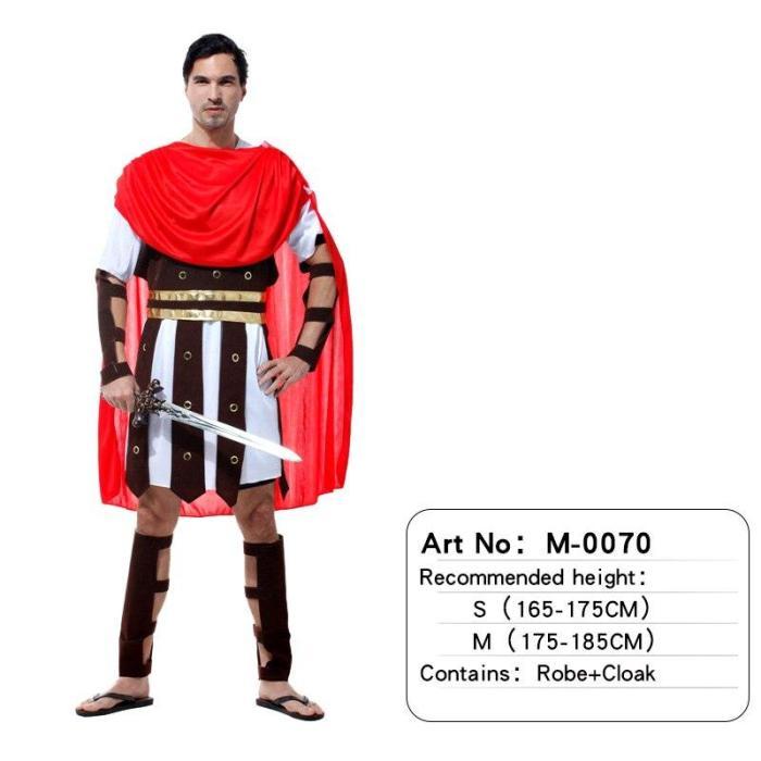 Halloween Adult Men Greek Roman Warrior Costume Knight With Cape Male Women Party Carnival Fancy Dress Up