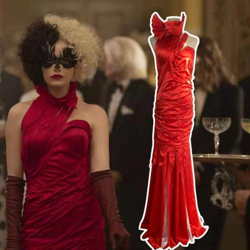 Movie Cruella De Vil Cosplay Costume Red Dress Up Halloween Outfits Wig For Women