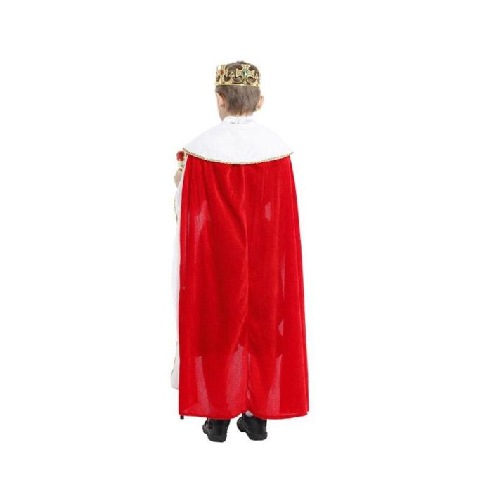 Halloween King Cloak Crown Belt Prince King Top Pants Cosplay Costume Party  Boys Girls Christmas No Scepter