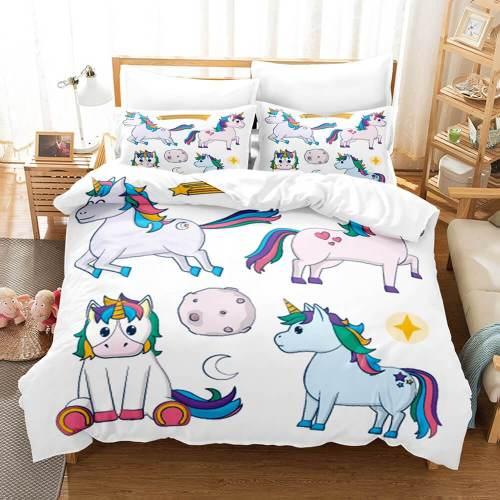 Cartoon Unicorn 3 Piece Bedding Set Duvet Covers Comforter Bed Sheets