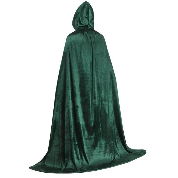 Halloween Adult Kids Velvet Cloak Cape Hooded Medieval Costume Witch Vampire Purim Carnival Party Black Red Blue