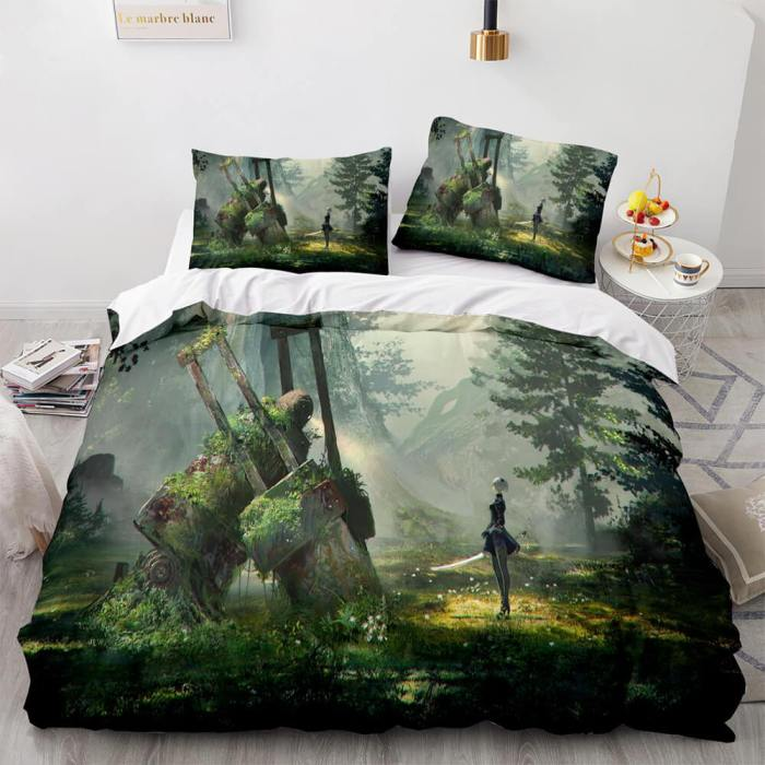 Nier Automata Cosplay 3 Piece Bedding Set Duvet Covers Bed Sheets