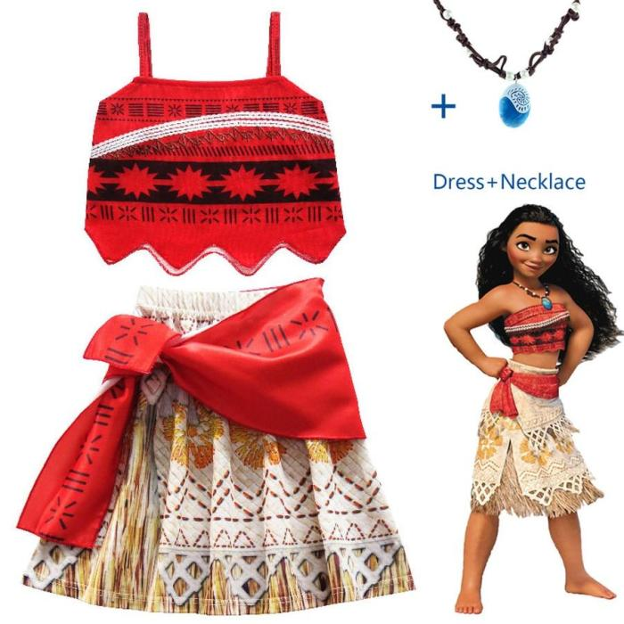 Princess Moana Cosplay Costume For Children Vaiana Dress Costume With Necklace For Halloween Costumes For Kids Girls Gifts