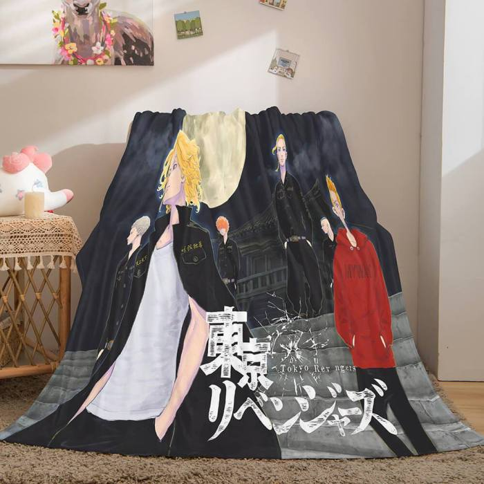 Tokyo Revengers Cosplay Flannel Blanket Throw Comforter Bed Blanket
