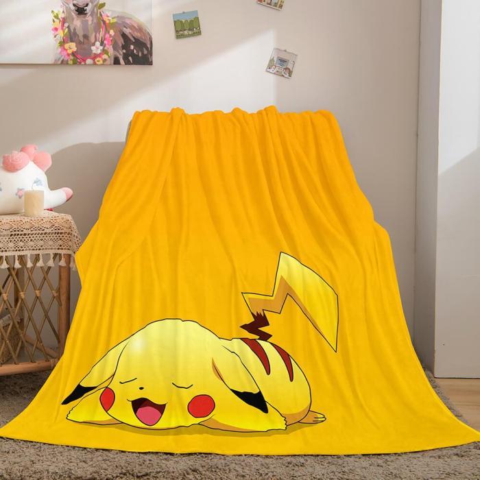 Pikachu Cosplay Blanket Flannel Throw Comforter Set