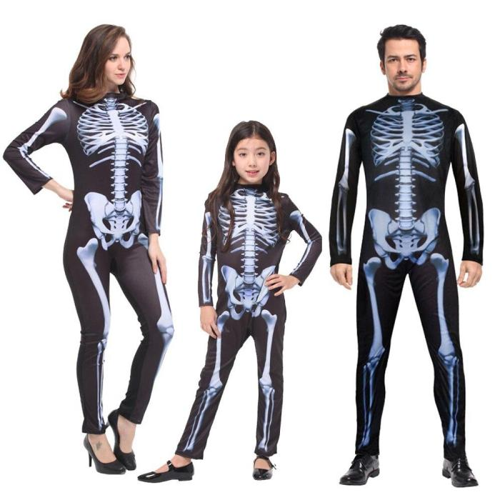 Halloween Adult Children Costumes Masquerade For Men And Women Skull Skeleton Ghost Party Clothes Horror Bodysuit