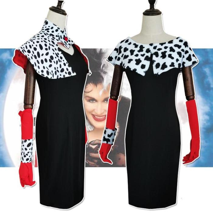 Cruella De Vil Cosplay Costume Dresses 101 Dalmatians With Cape Outfits Halloween Carnival Suit For Women Girls