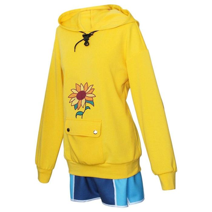 Anime Cosplay Wonder Egg Priority Ohto Ai Hoodie Pullover Costumes Yellow Sweatshirt Shorts Wig Sock Hairpin Suit