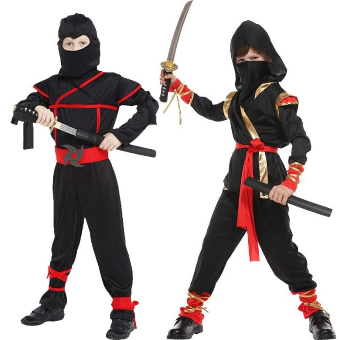 Halloween Ninja Attached Mask For Children Boys Costumes Cosplay Costume Martial Arts Costumes Fancy Party No Weapon