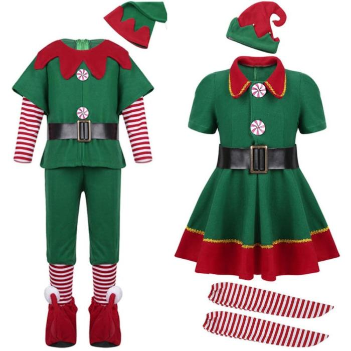Halloween Green Elf Girls Christmas Costume Festival Santa Clause For Girls  Year Chilren Xmas Clothing Fancy Party Dress